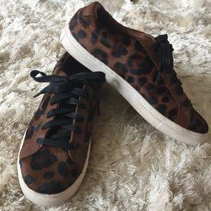 Shoes - Animal Print Cowhide Sneakers